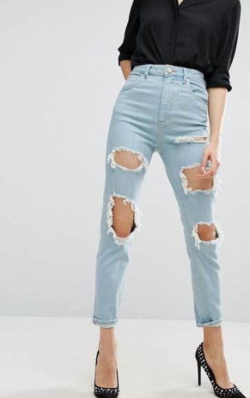 mom jeans boyfriend jeans ripped jeans