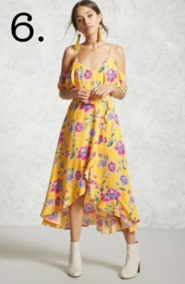 yellow floral flounce dress