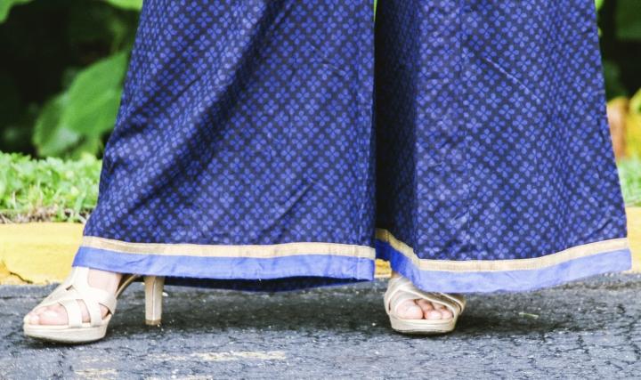 gold heels blue palazzo pants