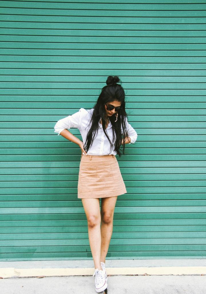 formal white shirt tan skirt
