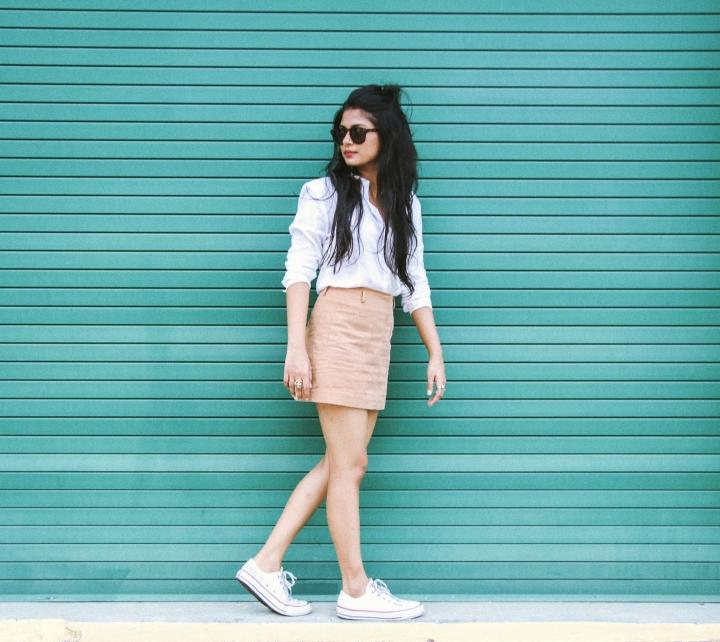 white formal shirt tan skirt converse