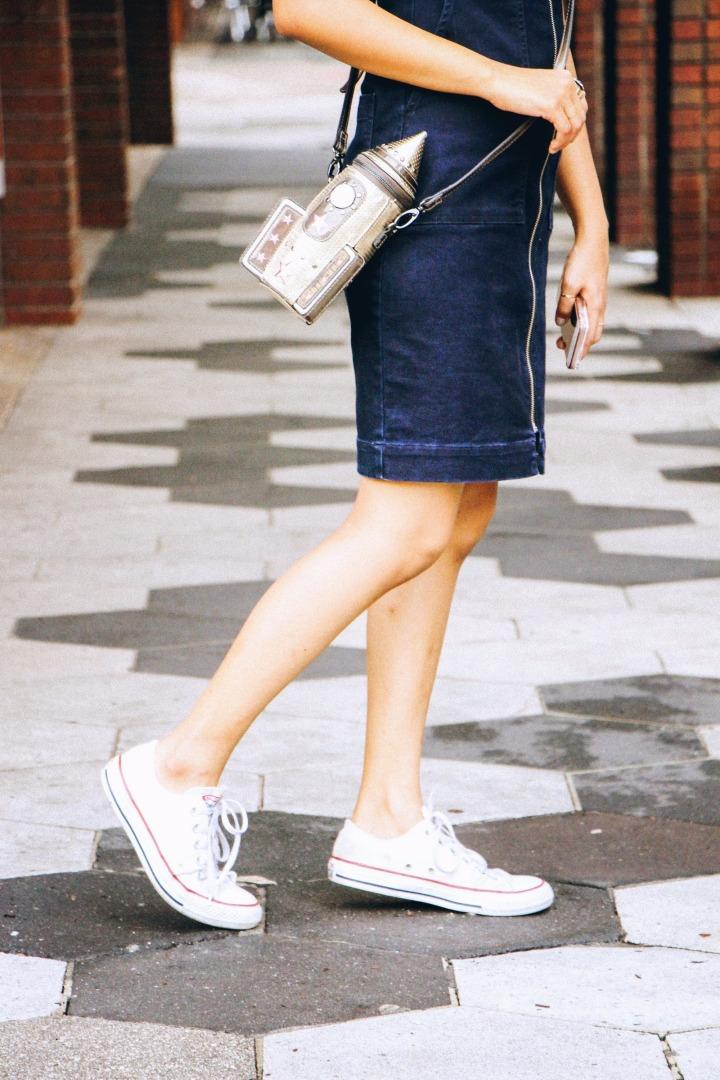 denim dress white converse rocket sling bag