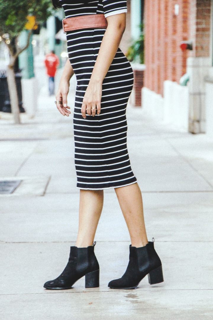 striped sweater dress midi dress black boots