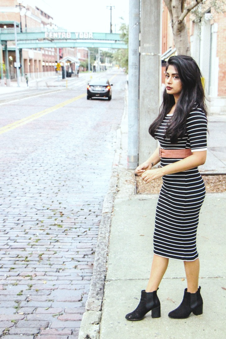 striped midi dress black boots